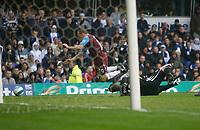 Photo: Steve Bond.<br />Birmingham City v West Ham United. The FA Barclays Premiership. 18/08/2007. Colin Doyle (R) brings down Craig Bellamy (L) for West Ham's penalty