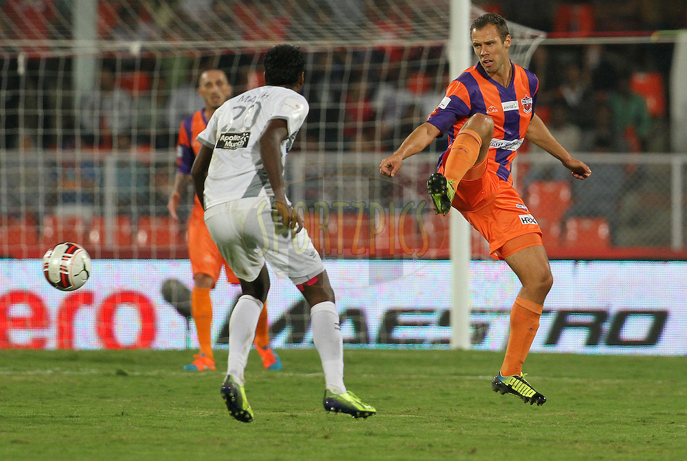 Krisztian Vadocz of FC Pune City during match 44 of the Hero Indian Super League between FC Pune City and Atletico de Kolkata FC held at the Shree Shiv Chhatrapati Sports Complex Stadium, Pune, India on the 29th November 2014.<br /> <br /> Photo by:  Vipin Pawar/ ISL/ SPORTZPICS