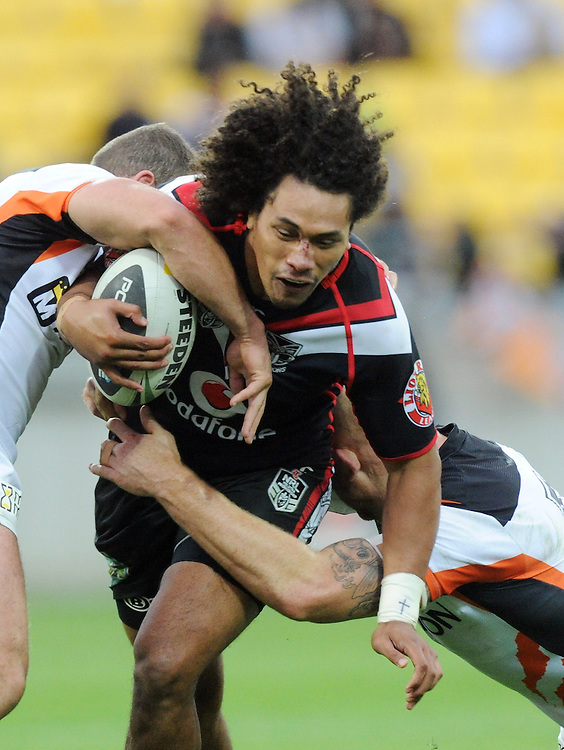 Warriors' Sione Lousi against the West Tigers in the NRL Rugby League match at Westpac Stadium, Wellington, New Zealand, Saturday, March 29, 2014. Credit:SNPA / Ross Setford