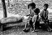 Chorti Mayan children with their dead pig which was hit by a car near their village of Estanzuela, Honduras.