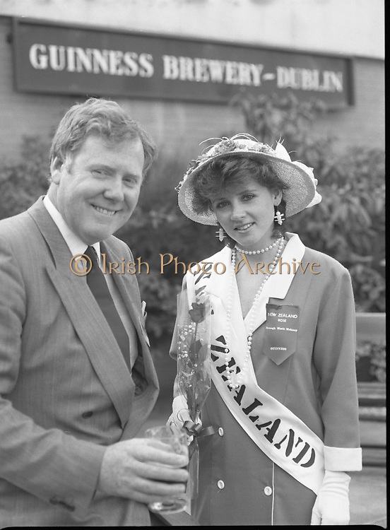 Roses of Tralee at Guinness Brewery..1986.20.08.1986..08.20.1986..20th August 1986..As part of the 50th running of the Rose Of Tralee Festival the thirty Rose contestants were invited to The Guinness Brewery,St James's Gate,Dublin. At the reception in their honour, Mr Pat Healy,Sales Director,Guinness Group Sales,welcomed the roses at the Guinness Reception Centre..Extra: Ms Noreen Cassidy,representing Leeds,went on to win the title of 'Rose Of Tralee'...The New Zealand Rose ,Ms Bronagh Moloney, pictured at the reception with Mr Brian Brown,Guinness Group Sales.