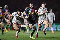 Ross Chisholm of Harlequins goes on the attack - Mandatory byline: Patrick Khachfe/JMP - 07966 386802 - 13/12/2019 - RUGBY UNION - The Twickenham Stoop - London, England - Harlequins v Ulster Rugby - Heineken Champions Cup