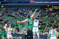 Andrija Stipanovic of KK Cedevita Olimpija and Youssou Ndoye of Nanterre 92 during EuroCup basketball match between teams KK Cedevita Olimpija and Nanterre 92 in Round 4, Arena Stozice, 23. October, Ljubljana, Slovenia. Photo by Grega Valancic / Sportida