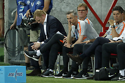 (L-R) coach Ronald Koeman of Holland, assistant trainer Dwight Lodeweges of Holland, assistant trainer Kees van Wonderen of Holland, goalkeeper trainer Patrick Lodewijks of Holland during  the International friendly match between Slovakia and The Netherlands at Stadium Antona Malatinskeho on May 31, 2018 in Trnava, Slovakia