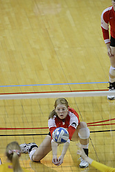 23 October 2010: Shannon McGlaughlin kneels to get a dig during an NCAA, Missouri Valley Conference volleyball match between the Wichita State Shockers and the Illinois State Redbirds at Redbird Arena in Normal Illinois.