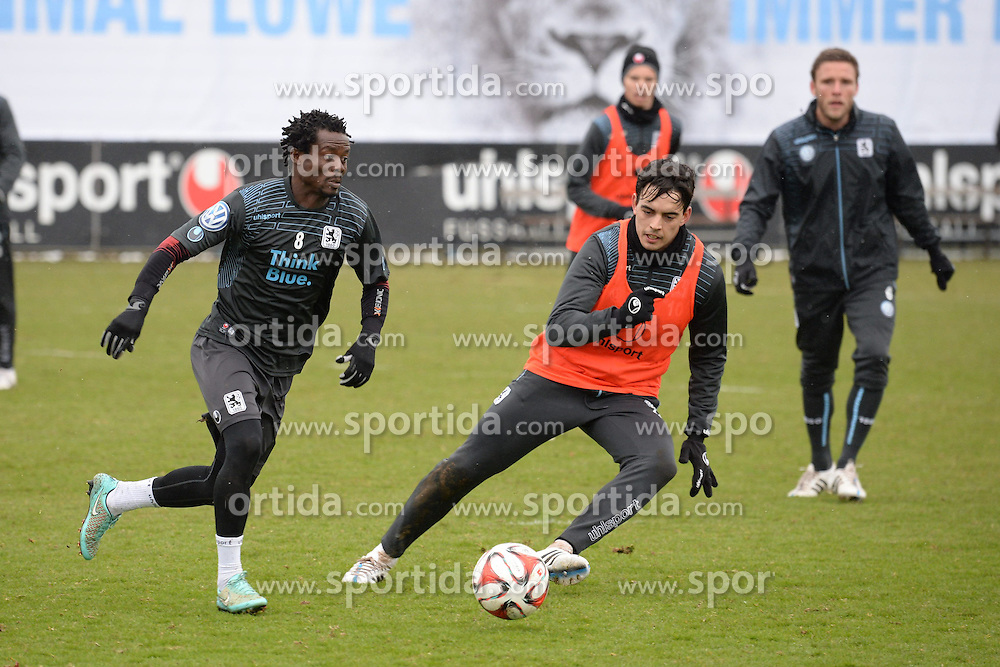 05.03.2015, Gruenwalderstrasse, M&uuml;nchen, GER, 2. FBL, TSV 1860 M&uuml;nchen, Training, im Bild vl. Anthony Annan ( TSV 1860 Muenchen ), Edu Bedia ( TSV 1860 Muenchen ) // during a practice session of 2nd german footballleague club TSV 1860 M&uuml;nchen at the Gruenwalderstrasse in M&uuml;nchen, Germany on 2015/03/05. EXPA Pictures &copy; 2015, PhotoCredit: EXPA/ Eibner-Pressefoto/ Vallejos<br /> <br /> *****ATTENTION - OUT of GER*****