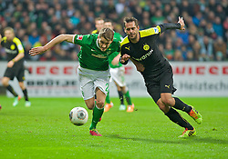 08.02.2014, Weserstadion, Bremen, GER, 1. FBL, SV Werder Bremen vs Borussia Dortmund, 20. Runde, im Bild Nils Petersen (SV Werder Bremen #24), Manuel Friedrich (BVB Borussia Dortmund #2) im Zweikampf // Nils Petersen (SV Werder Bremen #24), Manuel Friedrich (BVB Borussia Dortmund #2) im Zweikampf during the German Bundesliga 20th round match between SV Werder Bremen and Borussia Dortmund at the Weserstadion in Bremen, Germany on 2014/02/08. EXPA Pictures © 2014, PhotoCredit: EXPA/ Andreas Gumz<br /> <br /> *****ATTENTION - OUT of GER*****