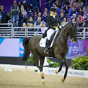 Isabell Werth (GER) riding Weihegold OLD, winner of the FEI World Cup Dressage Finals in Omaha, Nebraska.
