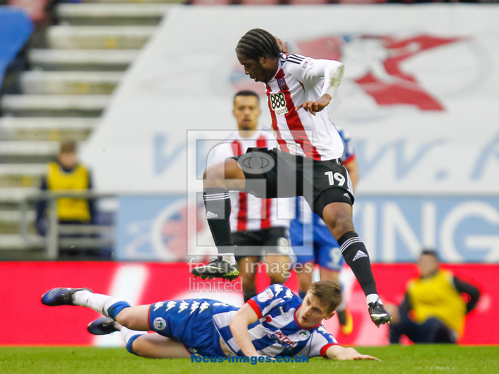 Romaine Sawyers of Brentford during the Sky Bet Championship match between Wigan Athletic and Brentford at the DW Stadium, Wigan<br /> Picture by Mark D Fuller/Focus Images Ltd +44 7774 216216<br /> 21/01/2017
