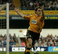 Fotball<br /> Photo: Glyn Thomas, Digitalsport<br /> NORWAY ONLY<br /> <br /> Fulham v Blackburn. FA Barclaycard Premiership. <br /> Loftus Road, Luton. 12/04/2004.<br /> Blackburn's John Douglas celebrates scoring his side's equaliser.