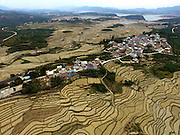 BAISE, March 14, 2016 (Xinhua) -- <br /> <br /> Photo taken on March 14, 2016 shows an aerial view of watermelon terraces in Xibeile Village under Yongle Township in Baise City, south China's Guangxi Zhuang Autonomous Region. Yongle Township is the hometown of watermelons in Guangxi. The planting there covers an area of 15,000 mu (about 1,000 hectares), with an output of 28,000 tons of watermelons annually<br /> ©Exclusivepix Media