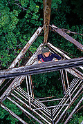 USA, MAINE, Allagash River, Round Pond, FIRE TOWER, Annie climbing up