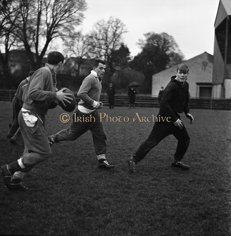 Irish Rugby Football Union, Ireland v Australia, Ireland team pracrtice, Dublin, Ireland, Friday 20th January, 1967,.20.1.1967, 1.20.1967,  Referee- M Joseph, Welsh Rugby Union, ..Score- Ireland 15 - 8 Australia, ..Irish Team, ..T J Kiernan,  Wearing number 15 Irish jersey, Full Back, Cork Constitution Rugby Football Club, Cork, Ireland,..A T A Duggan, Wearing number 14 Irish jersey, Right Wing, Landsdowne Rugby Football Club, Dublin, Ireland,..F P K Bresnihan, Wearing number 13 Irish jersey, Right Centre, University College Dublin Rugby Football Club, Dublin, Ireland, ..H H Rea, Wearing number 12 Irish jersey, Left Centre, Edinburgh University Rugby Football Club, Edinburgh, Scotland, ..P J McGrath,  Wearing number 11 Irish jersey, Left Wing, University college Cork Rugby Football Club, Cork, Ireland,  ..C M H Gibson, Wearing number 10 Irish jersey, Stand Off, N.I.F.C, Rugby Football Club, Belfast, Northern Ireland, ..B F Sherry, Wearing number 9 Irish jersey, Scrum Half, Terenure Rugby Football Club, Dublin, Ireland, ..K G Goodall, Wearing number 8 Irish jersey, Forward, Newcastle University Rugby Football Club, Newcastle, England, ..M G Doyle, Wearing number 7 Irish jersey, Forward, Edinburgh Wanderers Rugby Football Club, Edinburgh, Scotland, ..N Murphy, Wearing number 6 Irish jersey, Forward, Cork Constitution Rugby Football Club, Cork, Ireland,..M Molloy, Wearing number 5 Irish jersey, Forward, University College Galway Rugby Football Club, Galway, Ireland,  ..W J McBride, Wearing number 4 Irish jersey, Forward, Ballymena Rugby Football Club, Antrim, Northern Ireland,..P O'Callaghan, Wearing number 3 Irish jersey, Forward, Dolphin Rugby Football Club, Cork, Ireland, ..K W Kennedy, Wearing number 2 Irish jersey, Forward, C I Y M S Rugby Football Club, Belfast, Northern Ireland, ..T A Moroney, Wearing number 1 Irish jersey, Forward, University College Dublin Rugby Football Club, Dublin, Ireland,