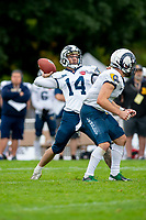 KELOWNA, BC - SEPTEMBER 8:  Colby PETERS #14 of Langley Rams throws the ball against the Okanagan Sun  at the Apple Bowl on September 8, 2019 in Kelowna, Canada. (Photo by Marissa Baecker/Shoot the Breeze)