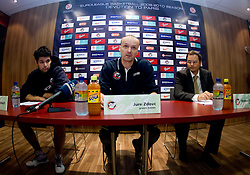 Saso Ozbolt, Head coach Jure Zdovc and Matevz Zupancic at press conference of KK Union Olimpija, on October 12, 2009, in Arena Tivoli, Ljubljana, Slovenia.  (Photo by Vid Ponikvar / Sportida)