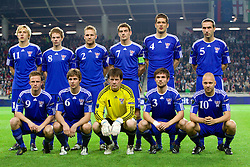 Team of Faroe Islands during the EURO 2012 Group C Qualifier match between Slovenia and Faroe Islands at Stozice stadium on October 8, 2010 in SRC Stozice, Ljubljana, Slovenia. Slovenia defeated Faroe Islands 5-1. (Photo by Vid Ponikvar / Sportida)