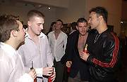 Ben Murray, Andrew Cowles, Luke Whitaker, Antony Rockminster and David laChapelle. David la Chapelle VIP party. Barbican. 21 October 2002. © Copyright Photograph by Dafydd Jones 66 Stockwell Park Rd. London SW9 0DA Tel 020 7733 0108 www.dafjones.com