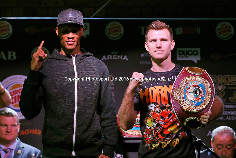 Ali Funeka (L) and Jeff Horn, Final press conference before the December 10, Parker v Ruiz, WBO world boxing heavyweight title fight. Rec Bar, Auckland. 8 December 2016 / www.photosport.nz