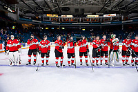 KAMLOOPS, CANADA - NOVEMBER 5: Team WHL lines up after the win against the Team Russia on November 5, 2018 at Sandman Centre in Kamloops, British Columbia, Canada.  (Photo by Marissa Baecker/Shoot the Breeze)