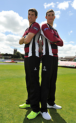 Somerset's Jamie and Craig Overton - Photo mandatory by-line: Harry Trump/JMP - Mobile: 07966 386802 - 03/06/15 - SPORT - CRICKET - Somerset T20 Squad - The County Ground, Taunton, England.