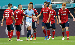 July 28, 2018 - Miami Gardens, FL, USA - Bayern Munich players celebrate a goal by Meritan Shabari, third from right, against Manchester City during the first half of an International Champions Cup match at Hard Rock Stadium in Miami Gardens, Fla., on Saturday, July 28, 2018. (Credit Image: © Pedro Portal/TNS via ZUMA Wire)
