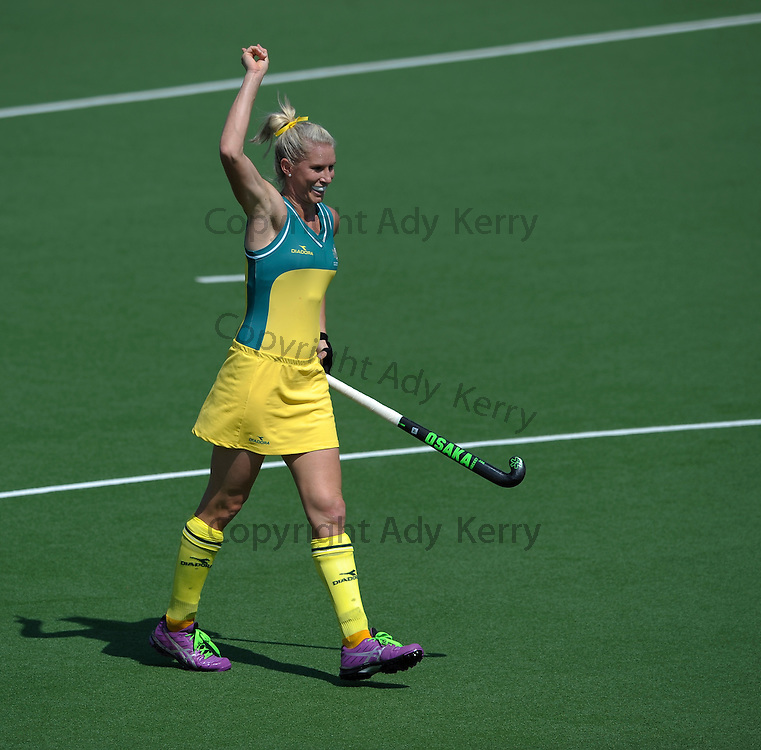 Australia's Jodie Kenny opens the scoring from a penalty corner huddle during their pool game at the XX Commonwealth Games, Glasgow, 25th July 2014.
