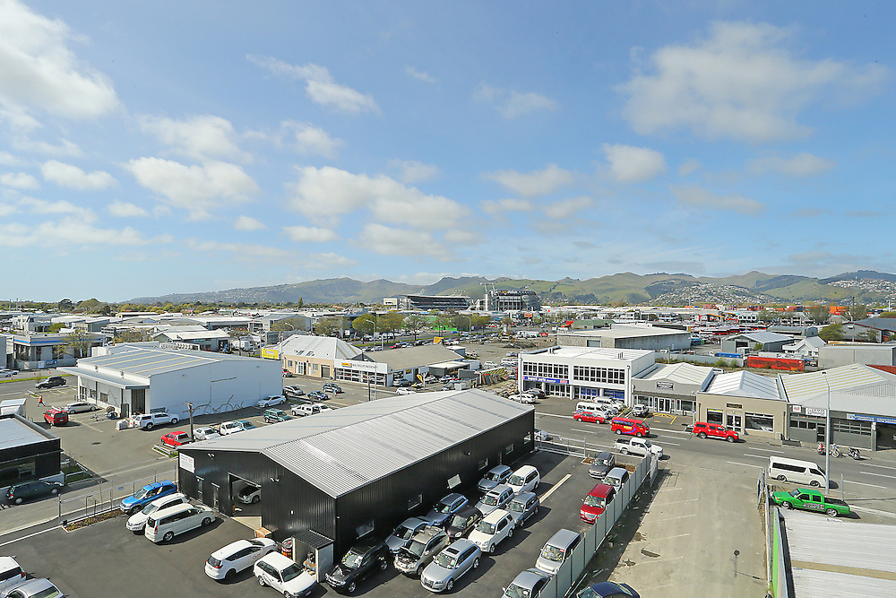 Looking South East over Christchurch City with the old AMI Stadium in the background, Christchurch, New Zealand, Wednesday, 14 October 2015.   Credit: SNPA / Pam Carmichael