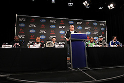 September 29, 2011; Washington D.C.; USA; UFC Vice President of Community Relations Reed Harris speaks at the final press conference for the upcoming bout between Dominick Cruz (left) and Demetrius Johnson (right) at UFC on Versus 6.