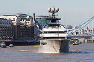 London: Superyacht Kismet leaves London, 3 October 2016