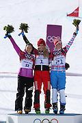 "(L to R) Tomoka Takeuchi (JPN), Patrizia Kummer (SUI), Alena Zavarzina (RUS), <br /> FEBRUARY 19, 2014 - Snowboarding : <br /> Women's Parallel Giant Slalom 1/8 Final at ""ROSA KHUTOR"" Extreme Park during the Sochi 2014 Olympic Winter Games in Sochi, Russia.<br /> (Photo by Koji Aoki/AFLO SPORT)"