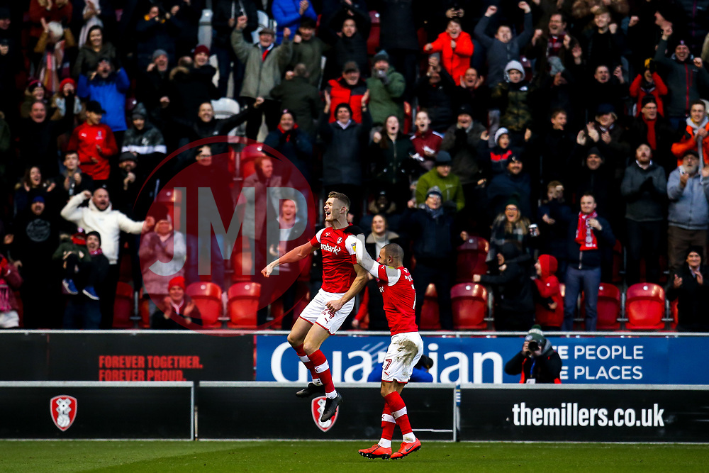 Michael Smith of Rotherham United celebrates scoring a goal to make it 2-0 - Mandatory by-line: Robbie Stephenson/JMP - 18/01/2020 - FOOTBALL - Aesseal New York Stadium - Rotherham, England - Rotherham United v Bristol Rovers - Sky Bet League One