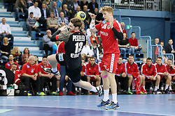 03.04.2016, Schwalbe Arena, Gummersbach, GER, Testspiel, Deutschland vs Oesterreich, im Bild Hendrick Pekeler (#13, Deutschland) vor Wilhelm Jelinek (#38, Oesterreich) beim Wurf // during the International Handball Friendly Match between Germany and Austria at the Schwalbe Arena in Gummersbach, Germany on 2016/04/03. EXPA Pictures © 2016, PhotoCredit: EXPA/ Eibner-Pressefoto/ Deutzmann<br /> <br /> *****ATTENTION - OUT of GER*****