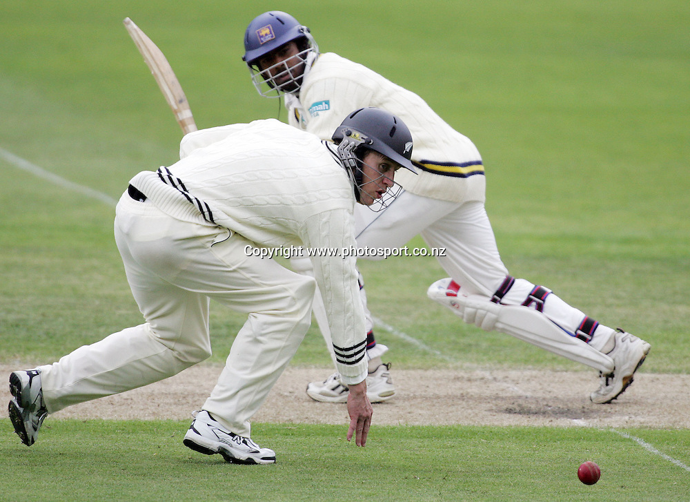 Craig Cumming watches a ball from Lasith Malinga go through on day two of the first cricket test match between the New Zealand Black Caps and Sri Lanka at Jade Stadium, Christchurch, New Zealand on Friday 8 December 2006. New Zealand made 206 runs in their first innings. Sri Lanka are 125/8 at the end of play on day 2. Photo: Hannah Johnston/PHOTOSPORT<br /> <br /> <br /> <br /> 081206