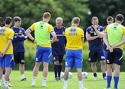 Bristol Rovers Manager, John Ward addresses his players - Photo mandatory by-line: Joe Meredith/JMP - Tel: Mobile: 07966 386802 24/06/2013 - SPORT - FOOTBALL - Bristol -  Bristol Rovers - Pre Season Training - Npower League Two