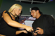 TORRIE & BILLY AT XBOX ROOM, MICROSOFT..CLIENT- MICROSOFT.PICS: PAUL LOVELACE 8/8/02