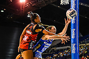 Bailey Mes of the Mystics and Temalisi Fakahokotau of the Tactix tussle for the ball during the ANZ Premiership Netball match, Tactix V Mystics, Horncastle Arena, Christchurch, New Zealand, 28th May 2018.Copyright photo: John Davidson / www.photosport.nz