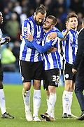 Jack Hunt of Sheffield Wednesday ,Atdhe Nuhiu of Sheffield Wednesday celebrtae at end of match during the Sky Bet Championship match between Sheffield Wednesday and Wolverhampton Wanderers at Hillsborough, Sheffield, England on 20 December 2015. Photo by Ian Lyall.