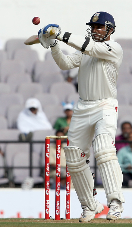 Indian batsman Virender Sehwag Plays a shot against New Zealand during The India vs New Zealand 3rd test match day-2 Played at Vidarbha Cricket Association Stadium, Jamtha, Nagpur, 21, November 2010 (5-day match)