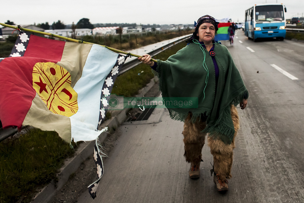 April 10, 2017 - Puerto Montt, Chile - Puerto Montt, Chile. 10 April 2017. Chilean and Argentinian inhabitants of the Puelo and Cochamó Valley held a cavalcade and march for the defense of the rivers of the Valley of the Puelo in the city of Puerto Montt, where they met with the regional authorities and give to the president Michelle Bachelet a petition to definitively protect the rivers of the zone and demand the definitive prohibition of the construction of the hydroelectric power plant Mediterráneo in Puerto Montt, Chile. (Credit Image: © Fernando Lavoz/NurPhoto via ZUMA Press)