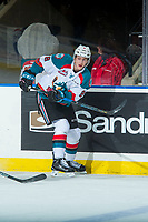 KELOWNA, CANADA - FEBRUARY 24: Jack Cowell #8 of the Kelowna Rockets passes the puck against the Kamloops Blazers  on February 24, 2018 at Prospera Place in Kelowna, British Columbia, Canada.  (Photo by Marissa Baecker/Shoot the Breeze)  *** Local Caption ***