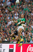 Wembley, Great Britain,  Simon Zebo. jumping to collect the hgh ball  during the Pool D Game, Ireland vs Romania.  2015 Rugby World Cup, Venue, Wembley Stadium, London, ENGLAND.  Sunday  27/09/2015 <br /> <br /> Mandatory Credit; Peter Spurrier/Intersport-images]  during the Pool D Game, Ireland vs Romania.  2015 Rugby World Cup, Venue, Wembley Stadium, London, ENGLAND.  Sunday  27/09/2015 <br /> <br /> Mandatory Credit; Peter Spurrier/Intersport-images]