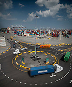 Trucks use the traffic circle, main gate and new empties yard at the Georgia Ports Authority, Monday, June, 22, 2015, at the Garden City Terminal near Savannah, Ga.  (GPA Photo/Stephen B. Morton)