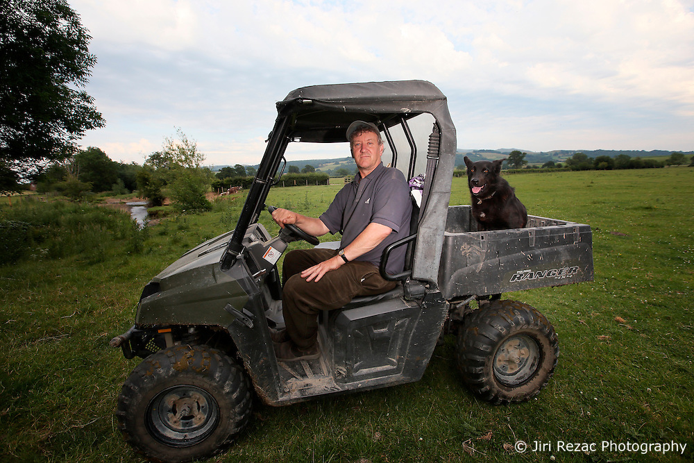 UK ENGLAND ENGLAND STOCKTON 1JUL15 - Farmer Robert Philips tends to his lands and livestock near the river Camlad on the border between England and Wales in the river Severn catchment area.<br /> <br /> jre/Photo by Jiri Rezac / WWF UK<br /> <br /> © Jiri Rezac 2015