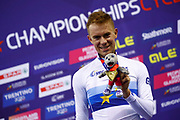 Podium, Men Points Race, Wojciech Pszczolarski (Poland) gold medal, during the Track Cycling European Championships Glasgow 2018, at Sir Chris Hoy Velodrome, in Glasgow, Great Britain, Day 4, on August 5, 2018 - Photo Luca Bettini / BettiniPhoto / ProSportsImages / DPPI - Belgium out, Spain out, Italy out, Netherlands out -