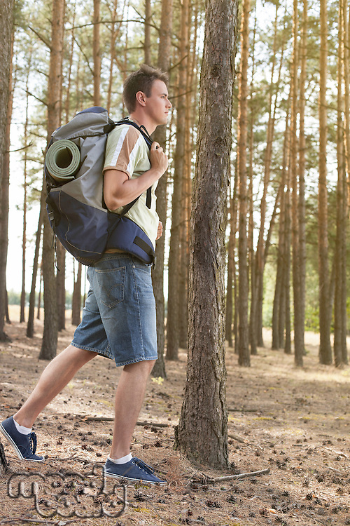 Full length side view of male hiker with backpack walking in forest