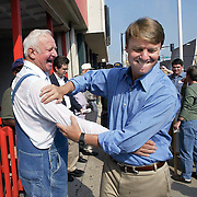 EDWARDS -- oct. 9, knoxville -- Edwards has relied on his rural North and South Carolina  roots to appeal to a similar population while campaigning in Iowa.  At the Coffee Connection in Knoxville, he met with and shook hands with farmers and small business owners from Marion County.  photo by david peterson  miDes Moines, Ia., April 25, 2009 - DRAKE RELAYS PHOTOGRAPH BY DAVID PETERSON -