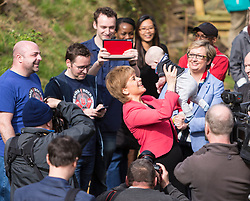 Scottish National Party leader, Nicola Sturgeon, joins Council candidates in Edinburgh to launch the SNP's manifesto for the 2017 Local Government election.<br /> <br /> Pictured: First Minister, Nicola Sturgeon holding a baby