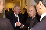 Sir Terence Conran and Sir Howard Hodgkin, Private view of 40 limited edition prints especially created by Howard Hodgkin for Elton John AIDS Foundation, Alan Christea Gallery, 6 February 2003. All proceeds from the evening benefit Elton John AIDS Foundation.© Copyright Photograph by Dafydd Jones 66 Stockwell Park Rd. London SW9 0DA Tel 020 7733 0108 www.dafjones.com