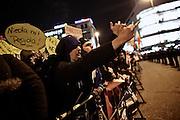 Frankfurt am Main | 09 Feb 2015<br /> <br /> Am Montag (09.02.2015) demonstrierte bereits zum dritten Mal die islamfeindliche und rassistische Gruppierung PEGIDA (Patrioden gegen die Islamisierung des Abendlandes) unter F&uuml;hrung der Frankfurterin Heidi Mund und in Gegenwart des Neonazis und Vorsitzenden der NPD Hessen, Stefan Jagsch, an der Katharinenkirche in Frankfurt am Main, PEGIDA konnte etwa 100 Demonstranten mobilisieren. An den Gegendemos nahmen etwa 1000 Menschen teil.<br /> Hier: Gegendemonstranten br&uuml;llen die PEGIDA-Rassisten an.<br /> <br /> &copy;peter-juelich.com<br /> <br /> [No Model Release | No Property Release]