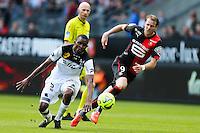 Ola TOIVONEN / Moustapha DIALLO - 12.04.2015 - Rennes / Guingamp - 32eme journee de Ligue 1 <br /> Photo : Vincent Michel / Icon Sport